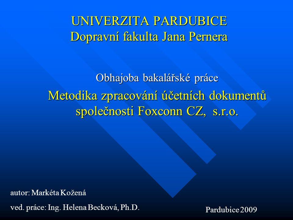 UNIVERZITA PARDUBICE Dopravní fakulta Jana Pernera