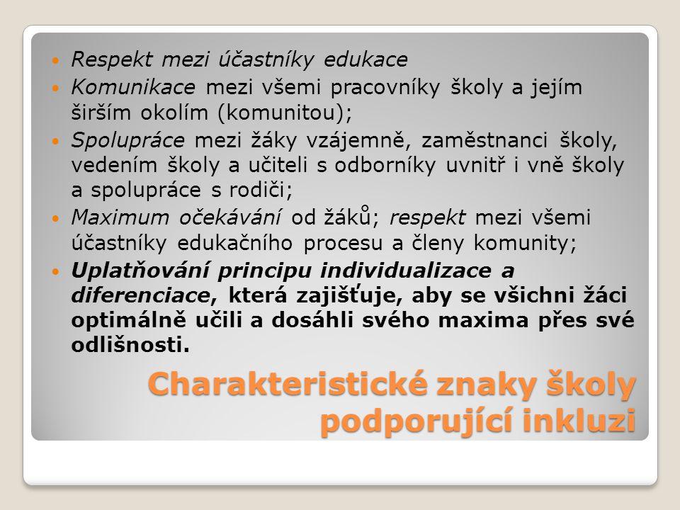 Charakteristické znaky školy podporující inkluzi
