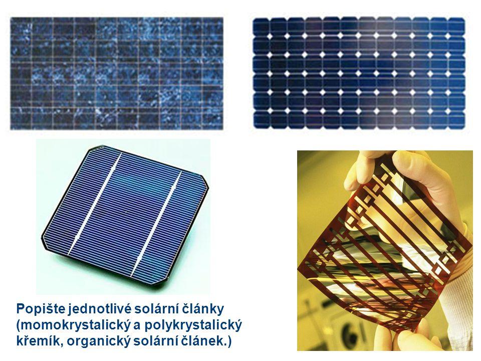 Popište jednotlivé solární články