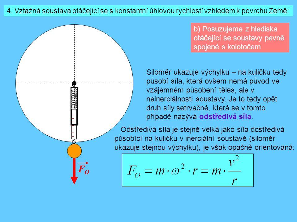 4. Vztažná soustava otáčející se s konstantní úhlovou rychlostí vzhledem k povrchu Země:
