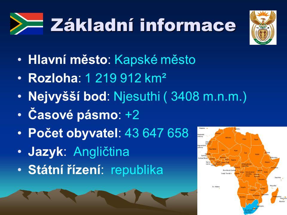 Základní informace Hlavní město: Kapské město Rozloha: 1 219 912 km²