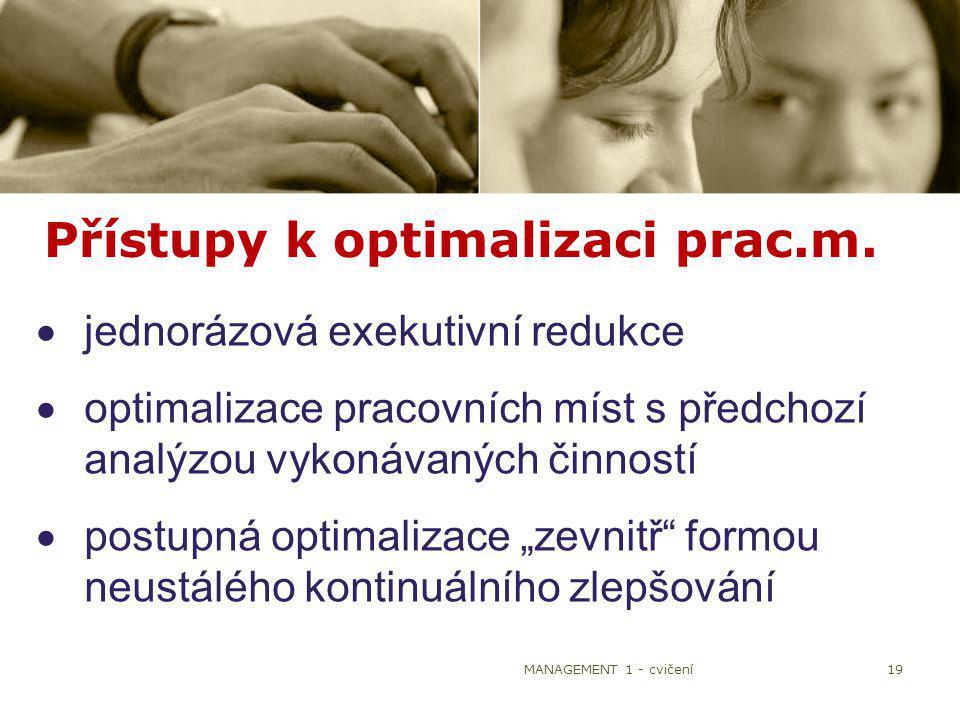 Přístupy k optimalizaci prac.m.