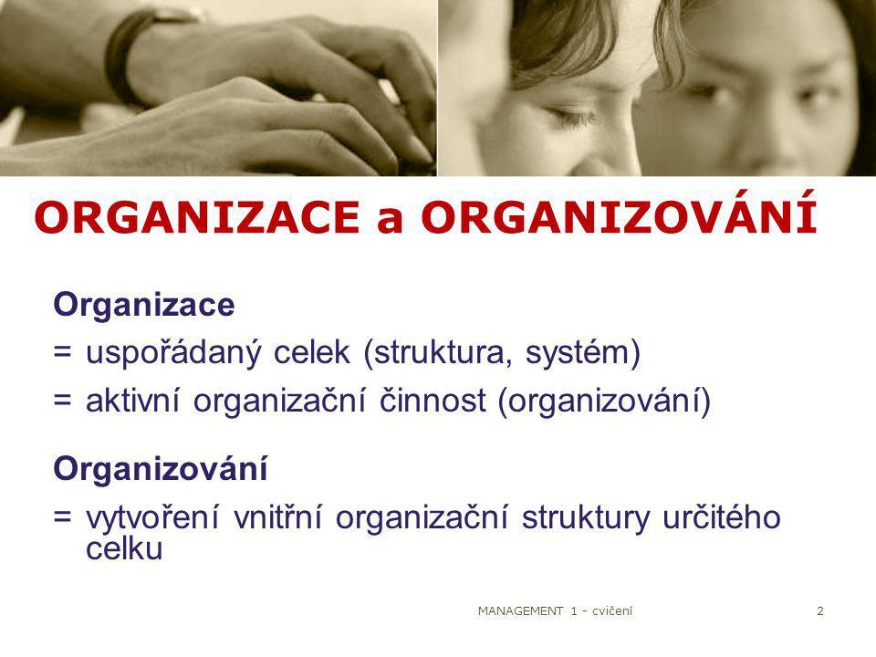 ORGANIZACE a ORGANIZOVÁNÍ