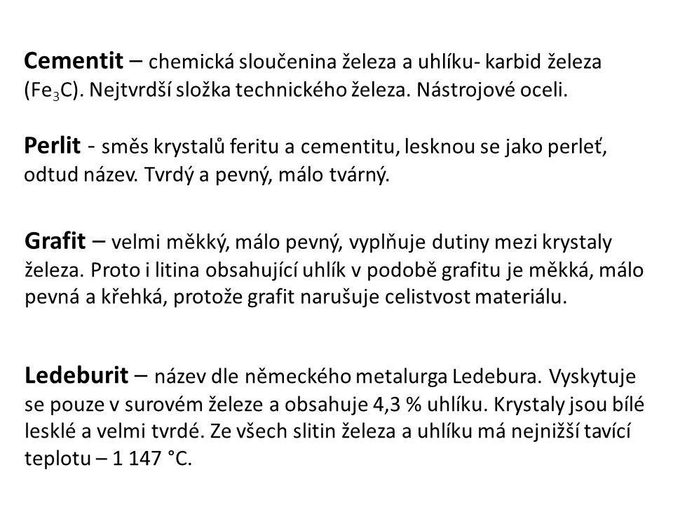 Cementit – chemická sloučenina železa a uhlíku- karbid železa (Fe3C)