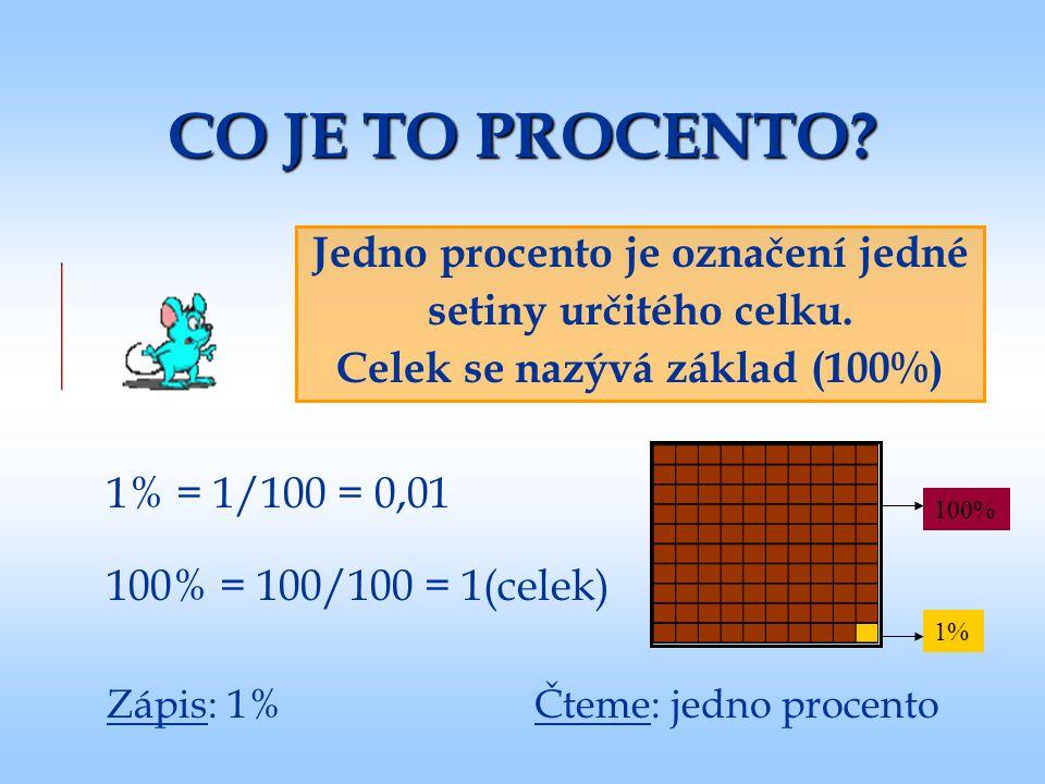 Jedno procento je označení jedné Celek se nazývá základ (100%)