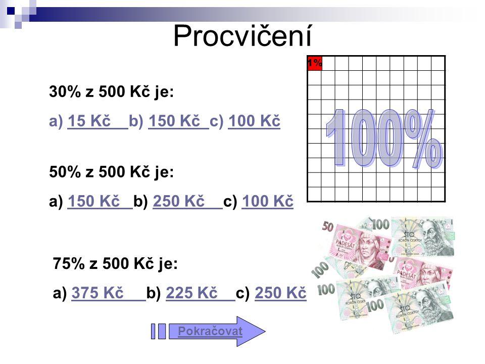 Procvičení 100% 30% z 500 Kč je: a) 15 Kč b) 150 Kč c) 100 Kč