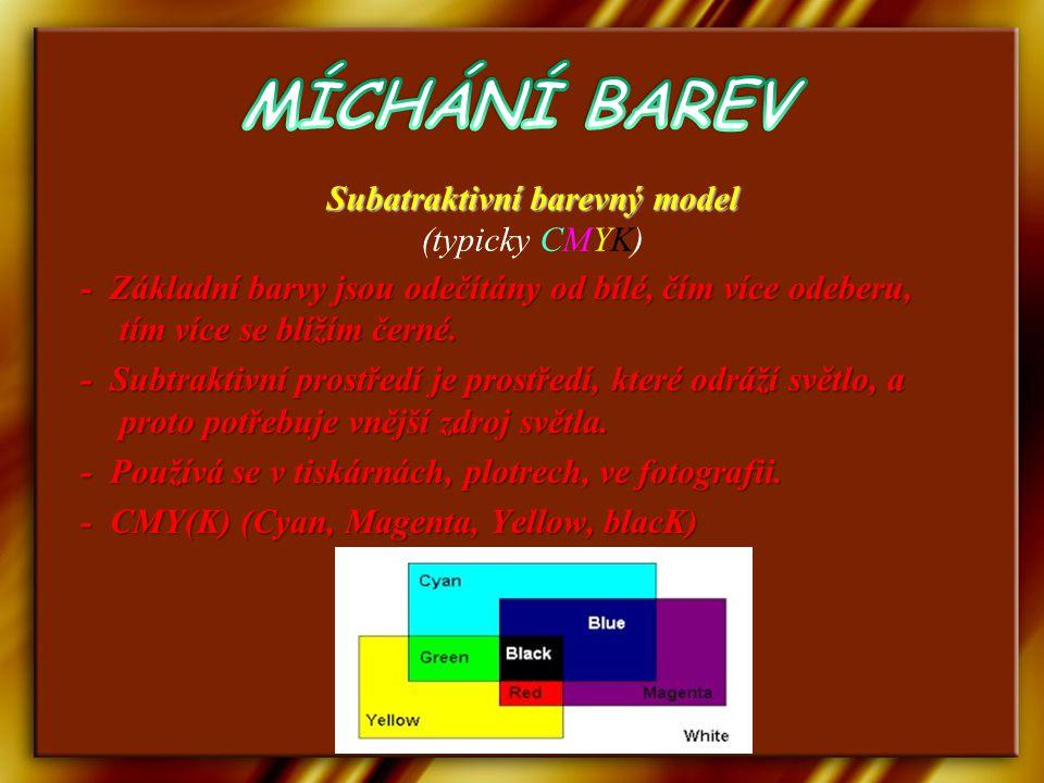 Subatraktivní barevný model (typicky CMYK)