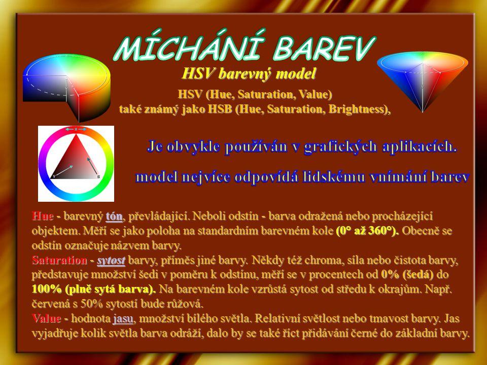 MÍCHÁNÍ BAREV HSV barevný model