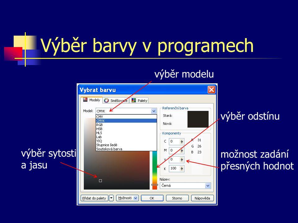Výběr barvy v programech