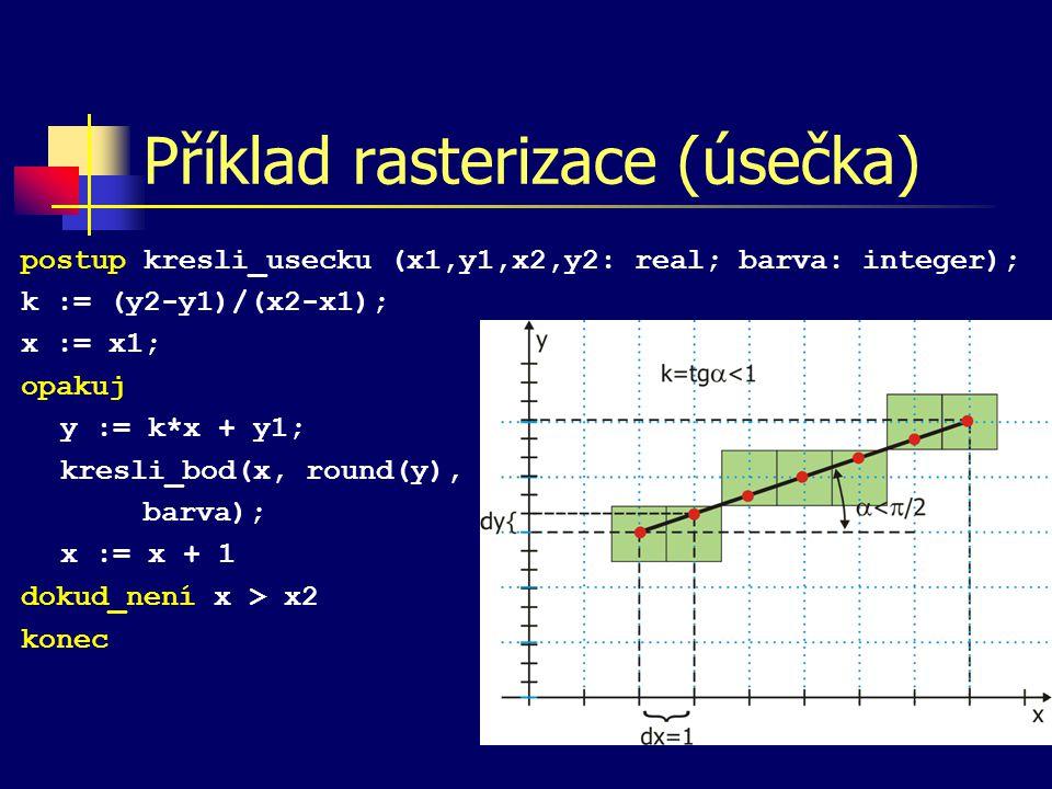 Příklad rasterizace (úsečka)