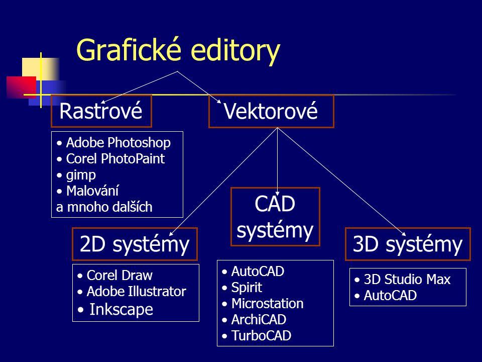 Grafické editory Vektorové Rastrové 2D systémy CAD systémy 3D systémy