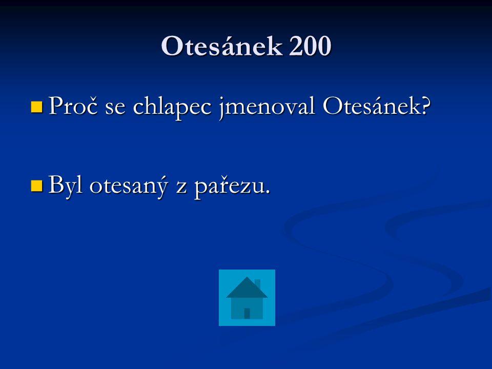 Otesánek 200 Proč se chlapec jmenoval Otesánek Byl otesaný z pařezu.