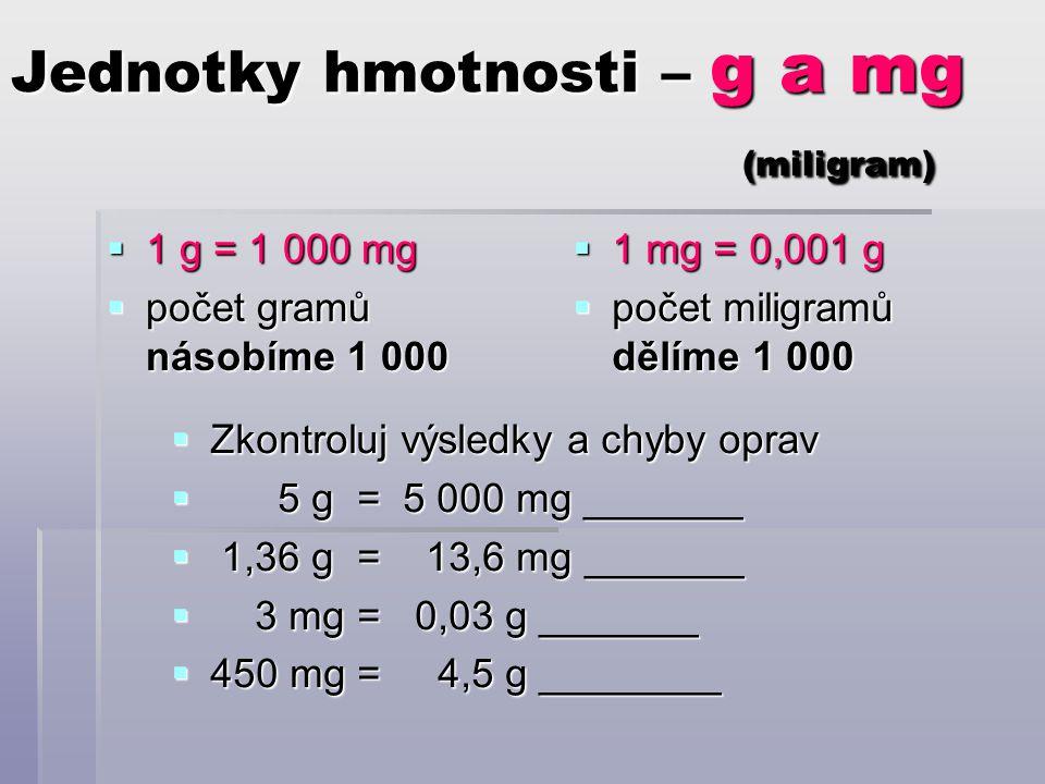 Jednotky hmotnosti – g a mg (miligram)