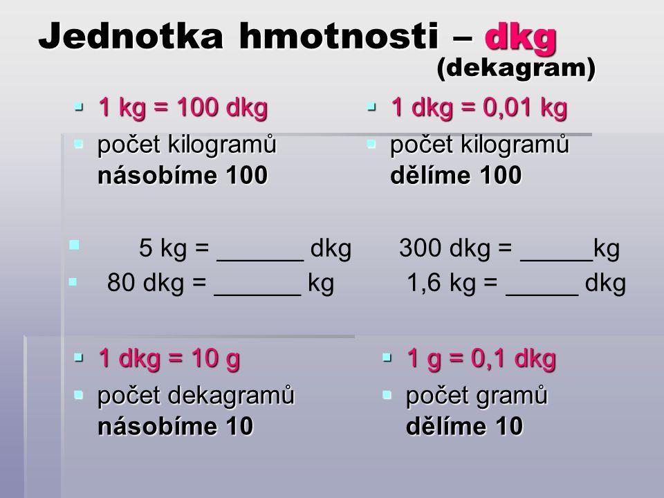 Jednotka hmotnosti – dkg (dekagram)