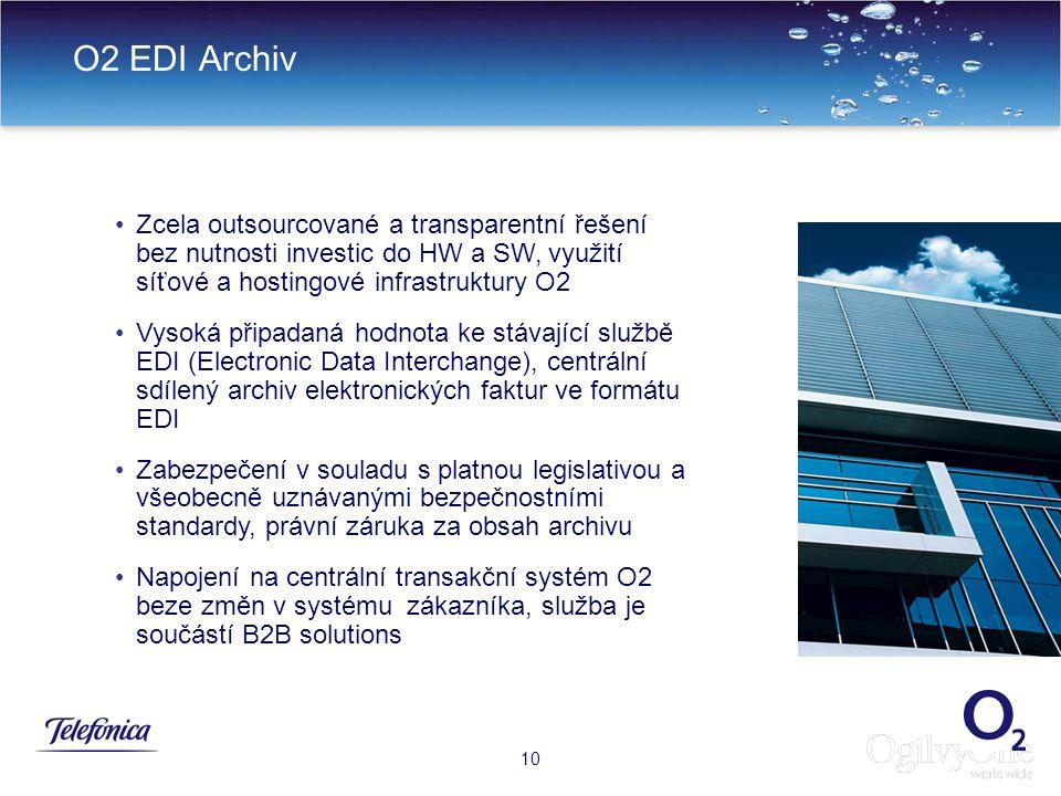 O2 EDI Archiv Zcela outsourcované a transparentní řešení bez nutnosti investic do HW a SW, využití síťové a hostingové infrastruktury O2.