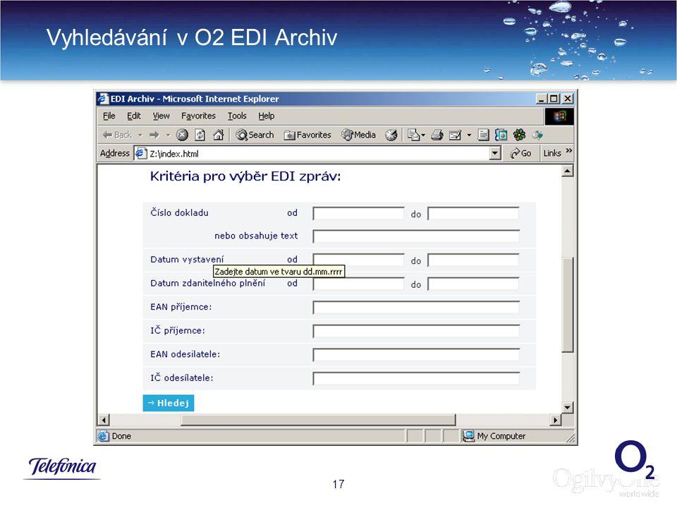 Vyhledávání v O2 EDI Archiv