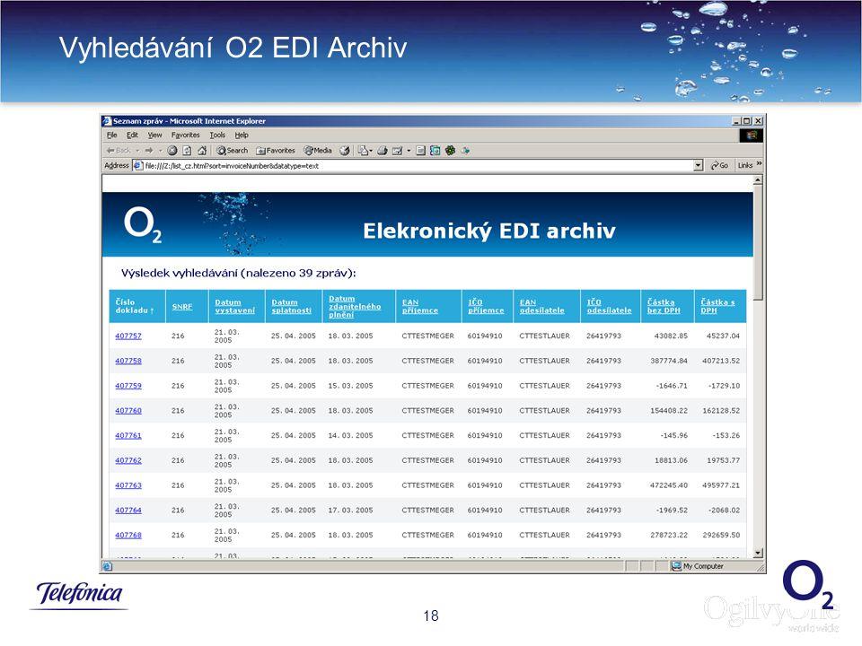 Vyhledávání O2 EDI Archiv