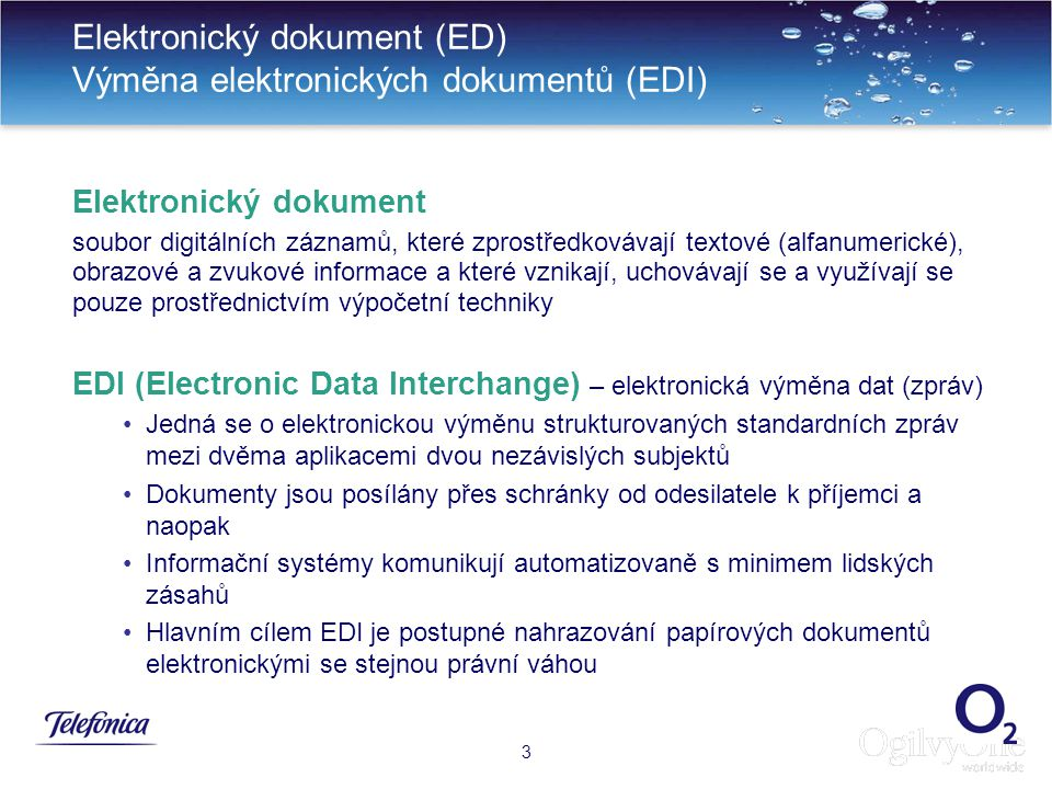 Elektronický dokument (ED) Výměna elektronických dokumentů (EDI)