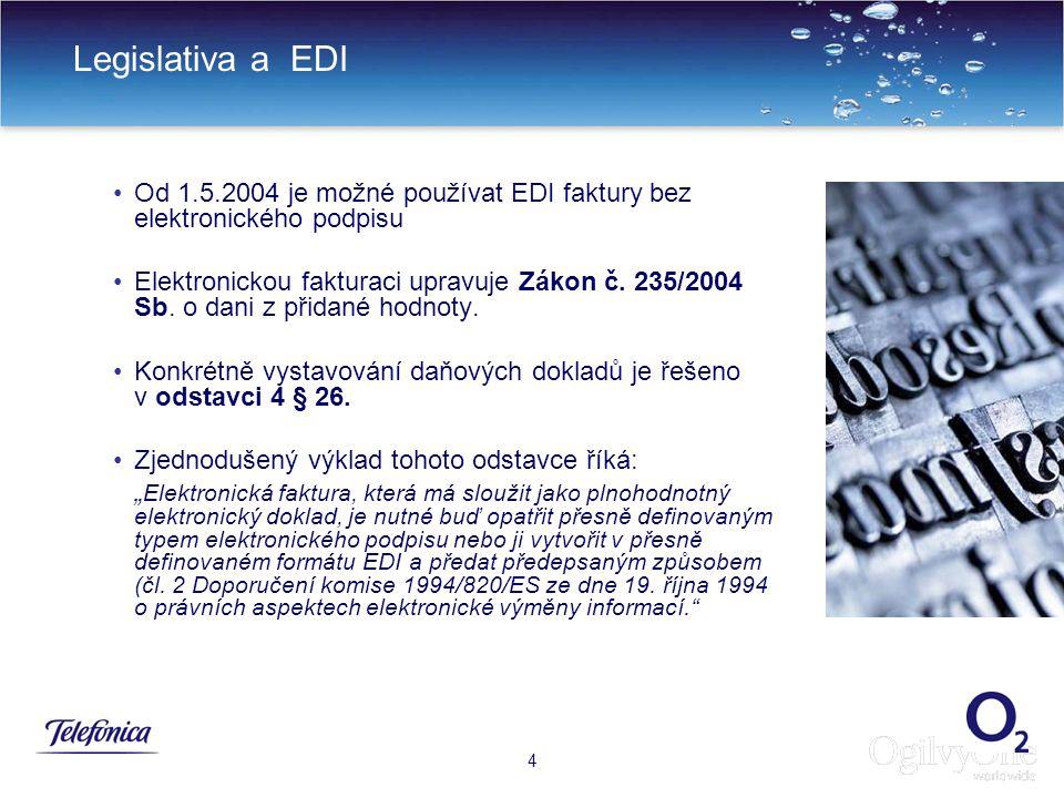 Legislativa a EDI Od 1.5.2004 je možné používat EDI faktury bez elektronického podpisu.