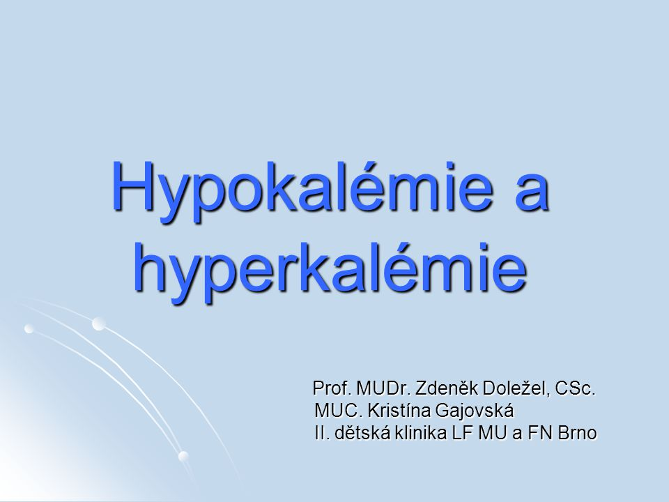 Hypokalémie a hyperkalémie