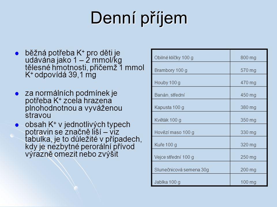 Denní příjem běžná potřeba K+ pro děti je udávána jako 1 – 2 mmol/kg tělesné hmotnosti, přičemž 1 mmol K+ odpovídá 39,1 mg.