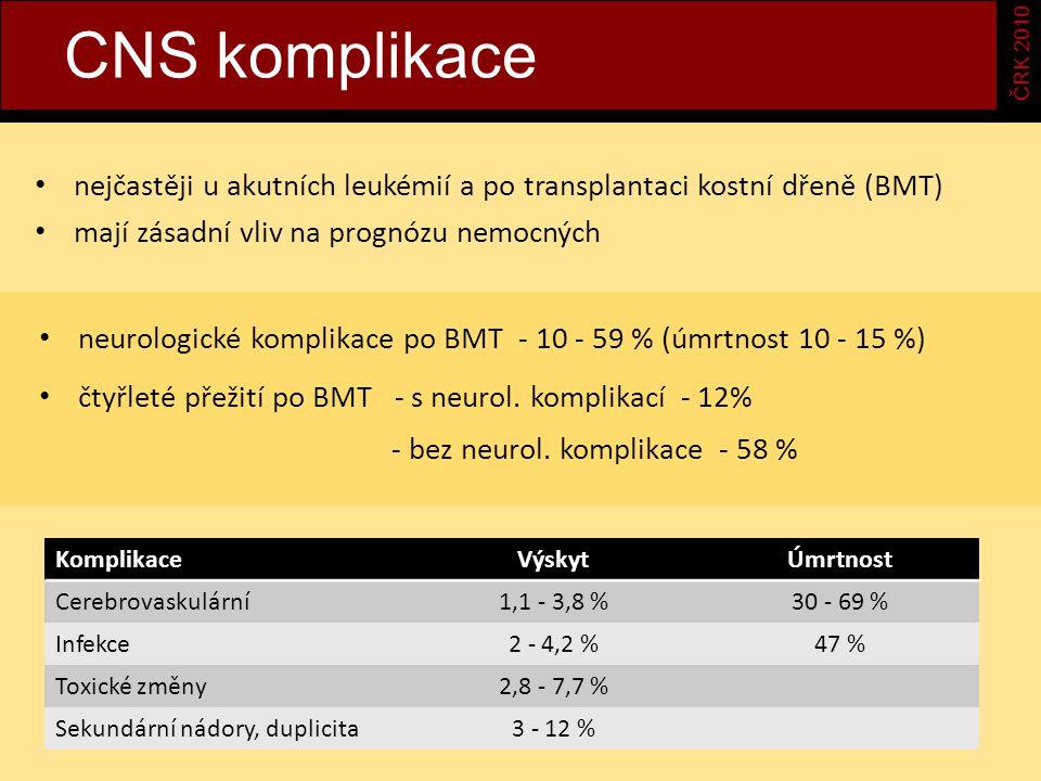 CNS komplikace ČRK 2010. a. nejčastěji u akutních leukémií a po transplantaci kostní dřeně (BMT) mají zásadní vliv na prognózu nemocných.