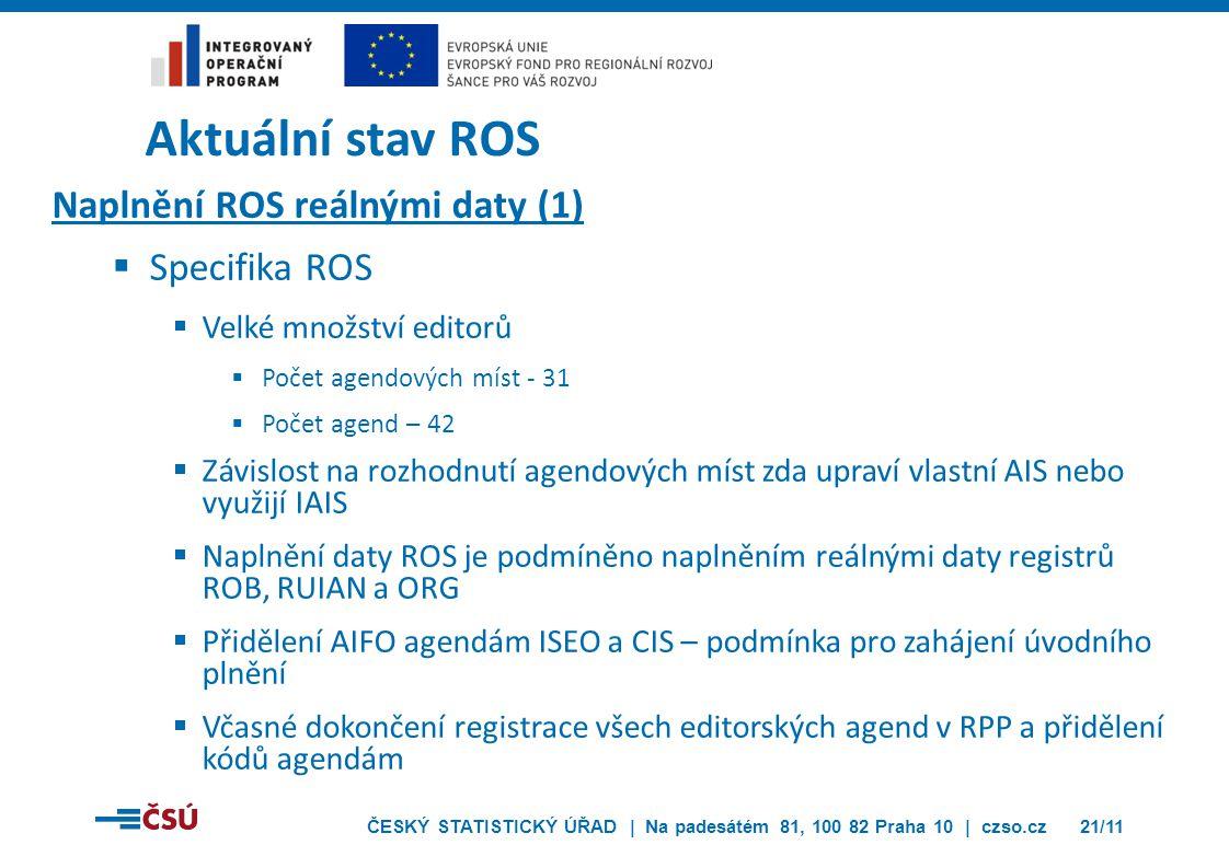 Aktuální stav ROS Naplnění ROS reálnými daty (1) Specifika ROS