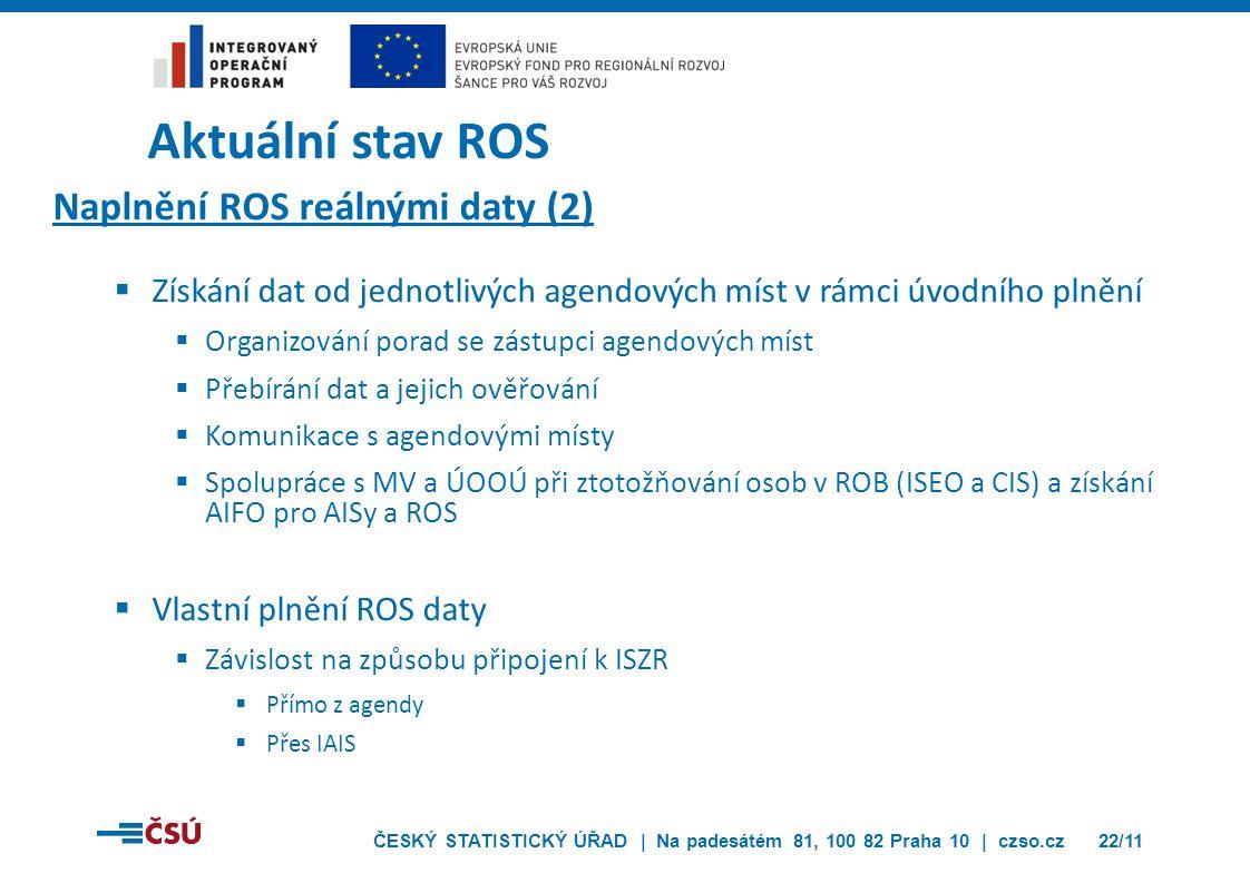 Aktuální stav ROS Naplnění ROS reálnými daty (2)