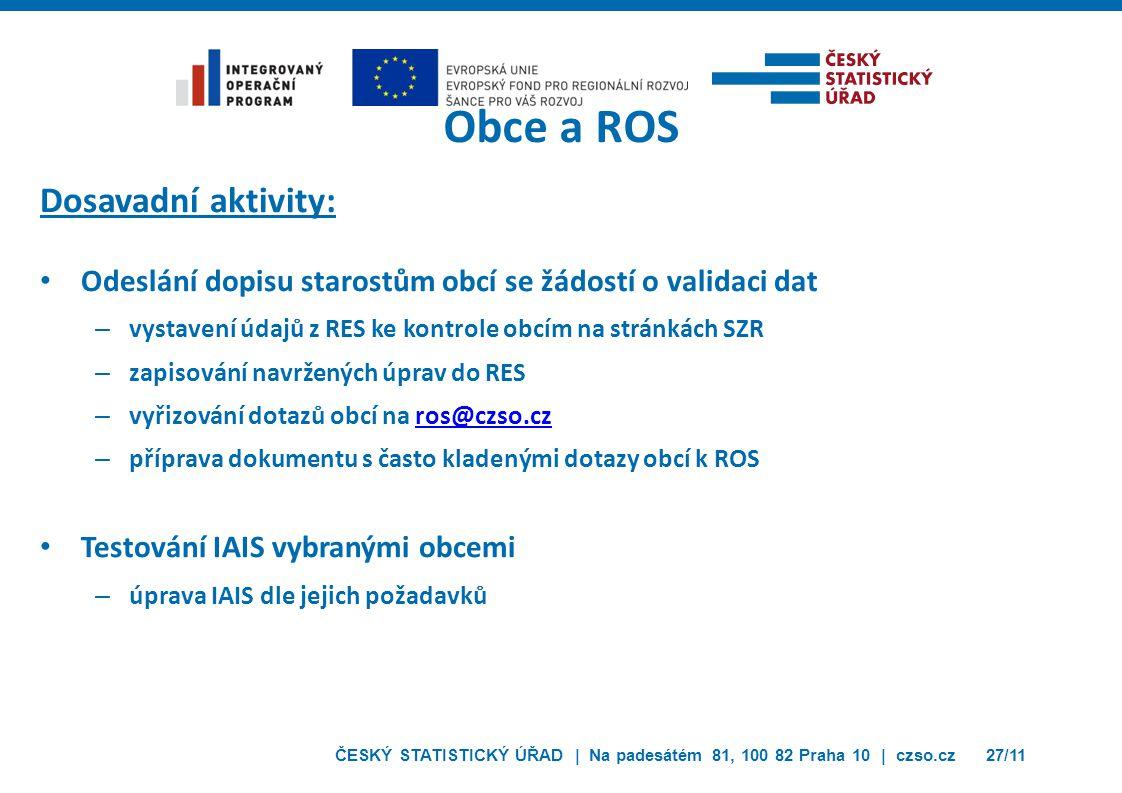 Obce a ROS Dosavadní aktivity: