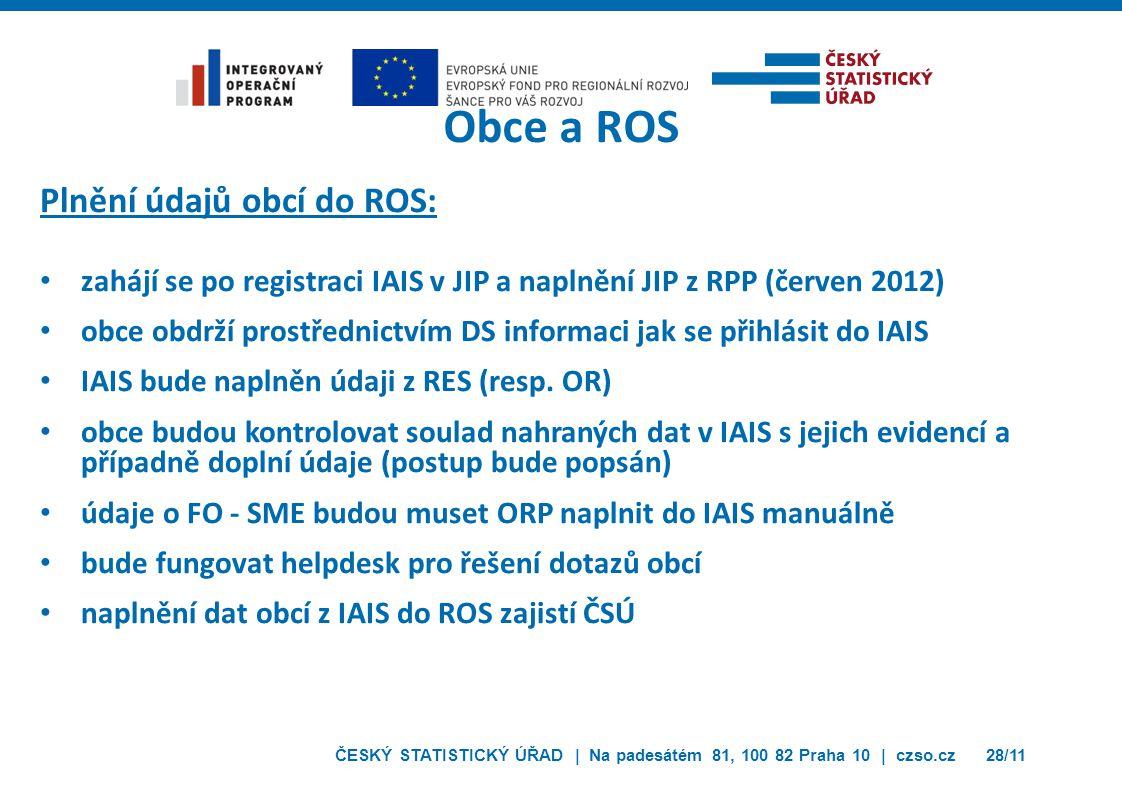Obce a ROS Plnění údajů obcí do ROS: