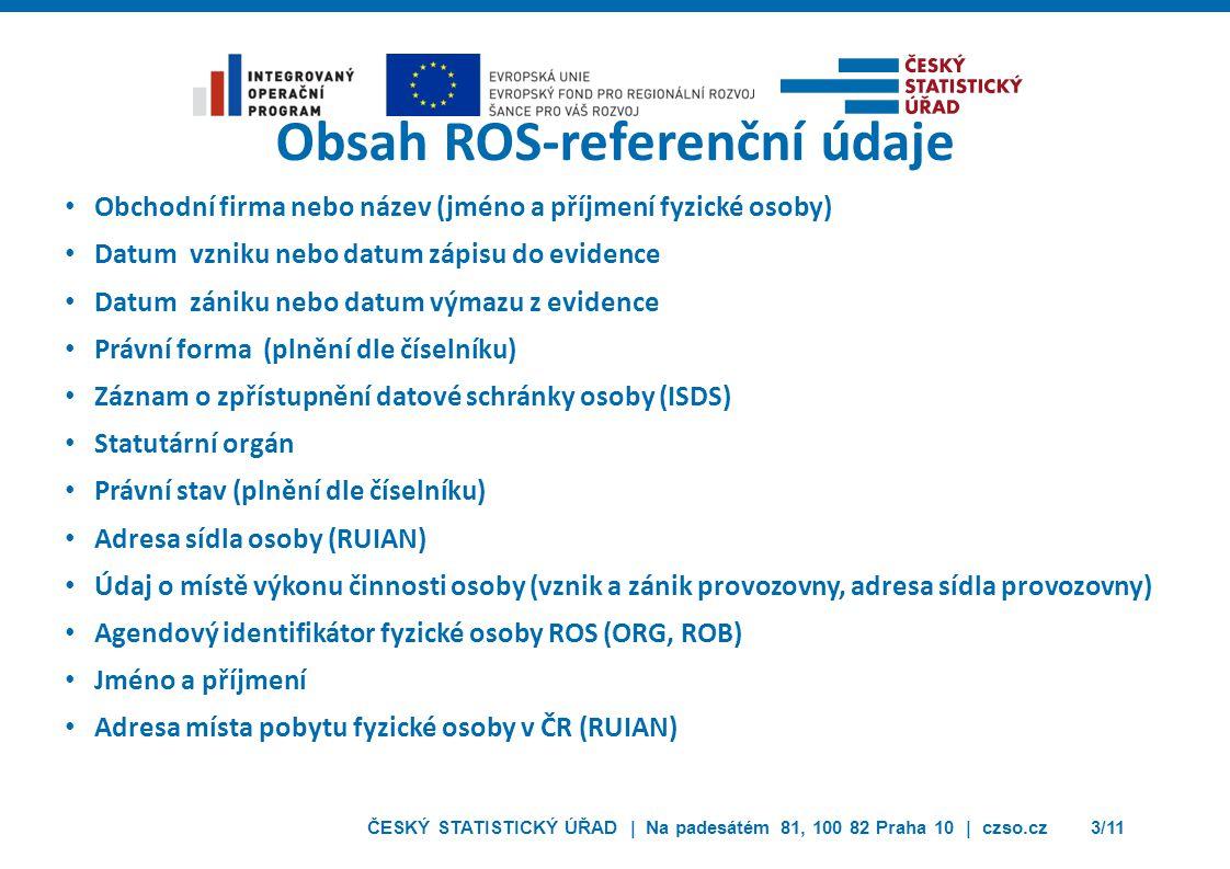 Obsah ROS-referenční údaje