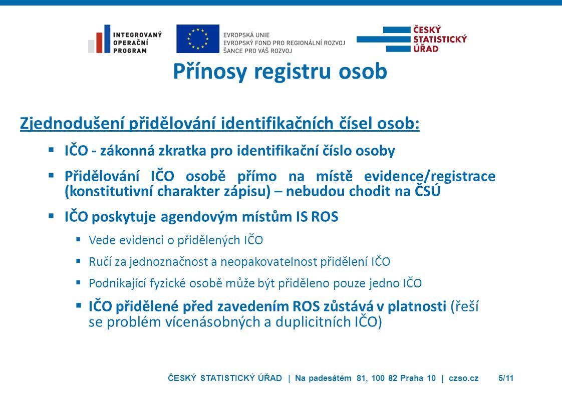 Přínosy registru osob Zjednodušení přidělování identifikačních čísel osob: IČO - zákonná zkratka pro identifikační číslo osoby.