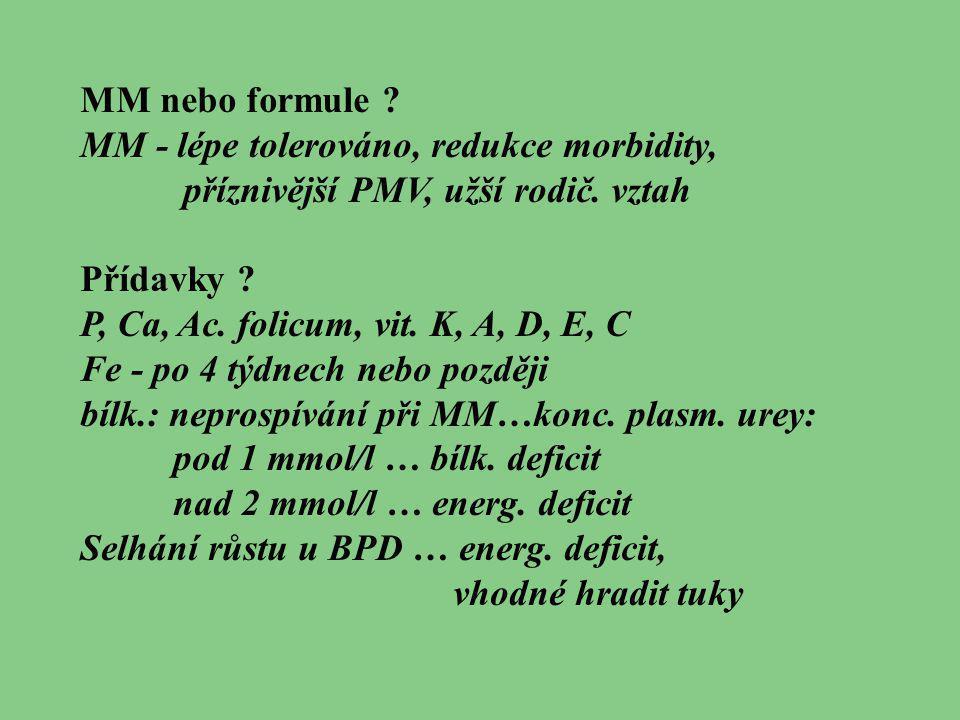 MM nebo formule MM - lépe tolerováno, redukce morbidity, příznivější PMV, užší rodič. vztah. Přídavky