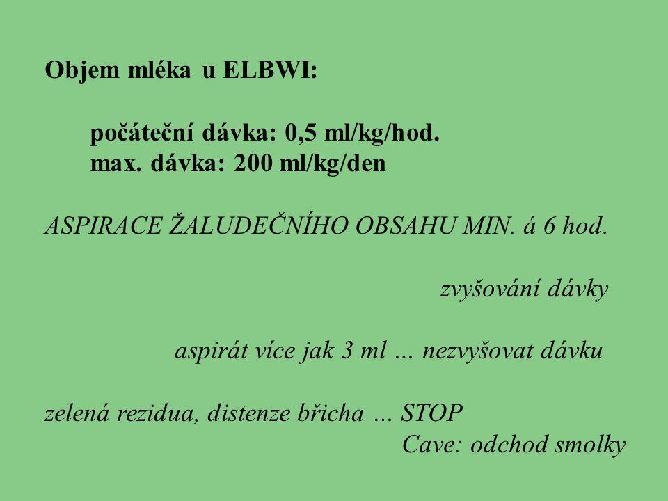 Objem mléka u ELBWI: počáteční dávka: 0,5 ml/kg/hod. max. dávka: 200 ml/kg/den. ASPIRACE ŽALUDEČNÍHO OBSAHU MIN. á 6 hod.