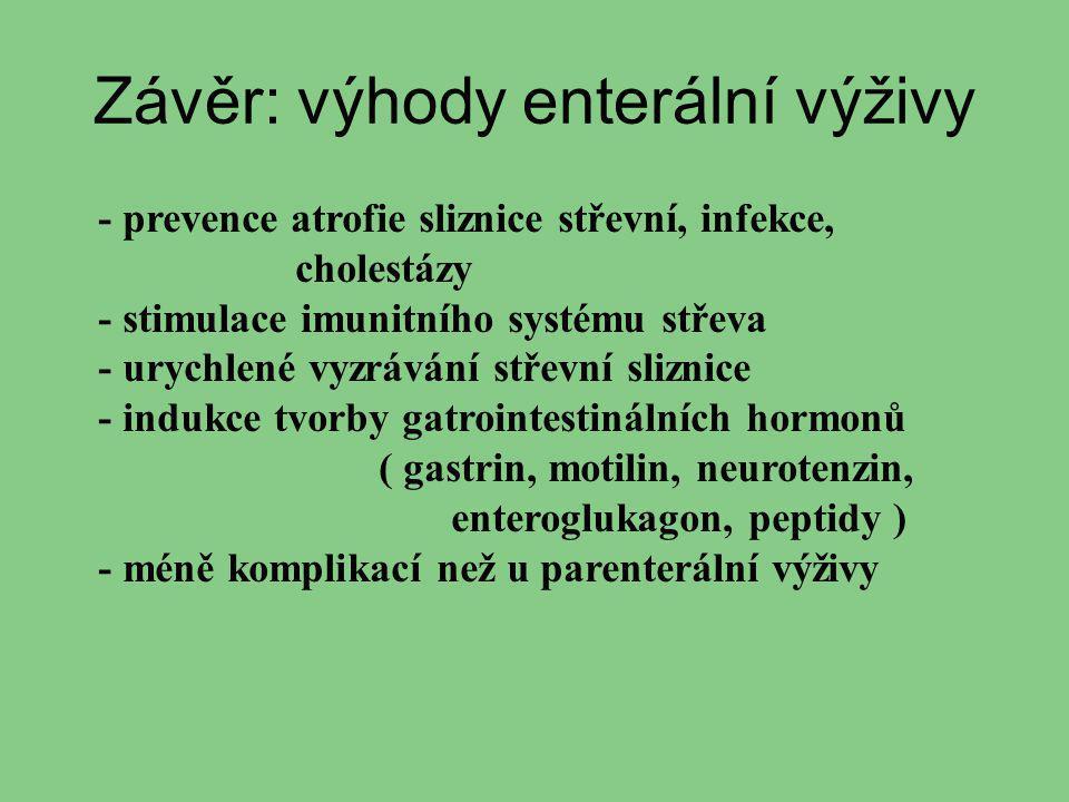 Závěr: výhody enterální výživy