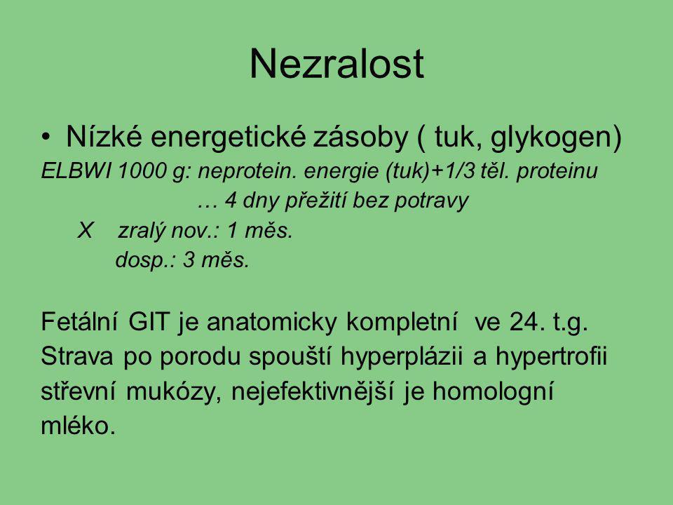Nezralost Nízké energetické zásoby ( tuk, glykogen)