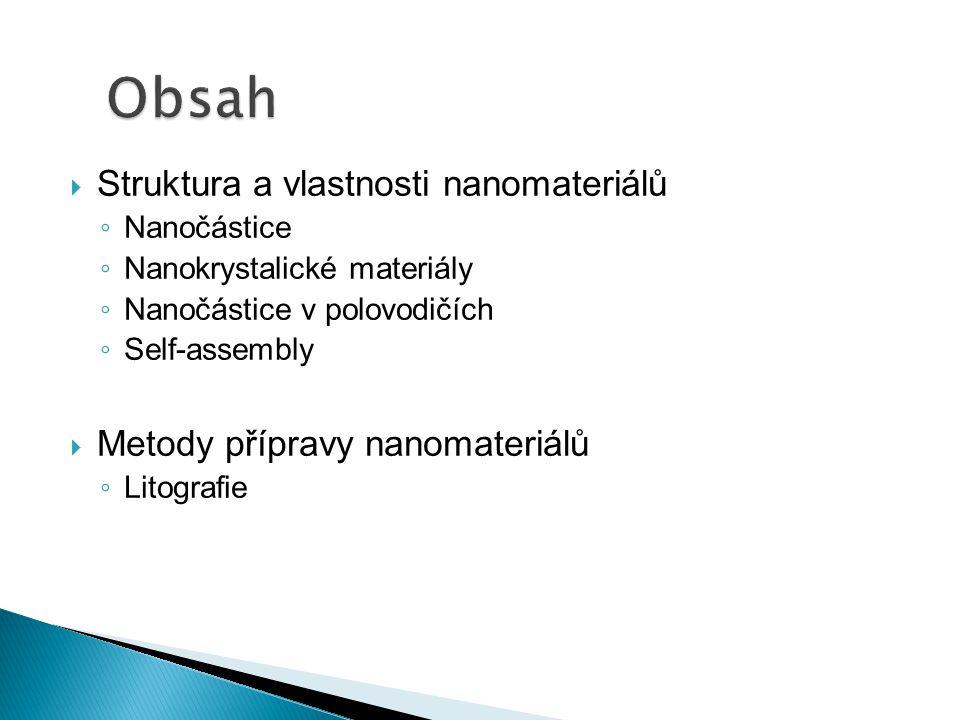 Obsah Struktura a vlastnosti nanomateriálů