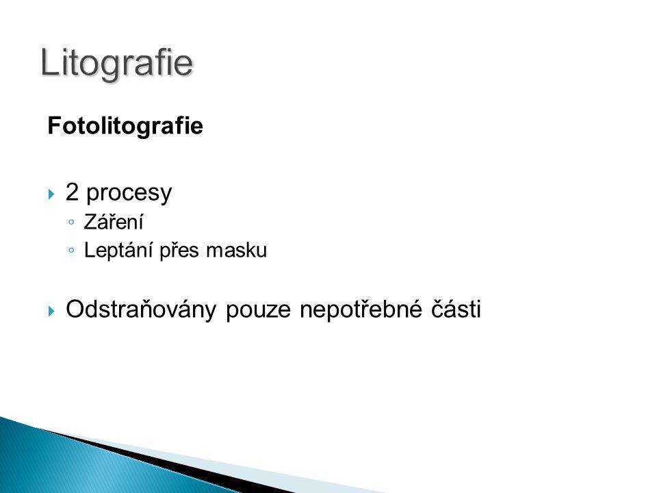 Litografie Fotolitografie 2 procesy