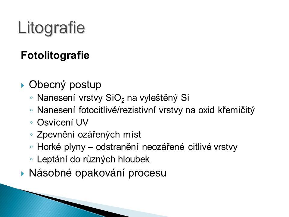 Litografie Fotolitografie Obecný postup Násobné opakování procesu
