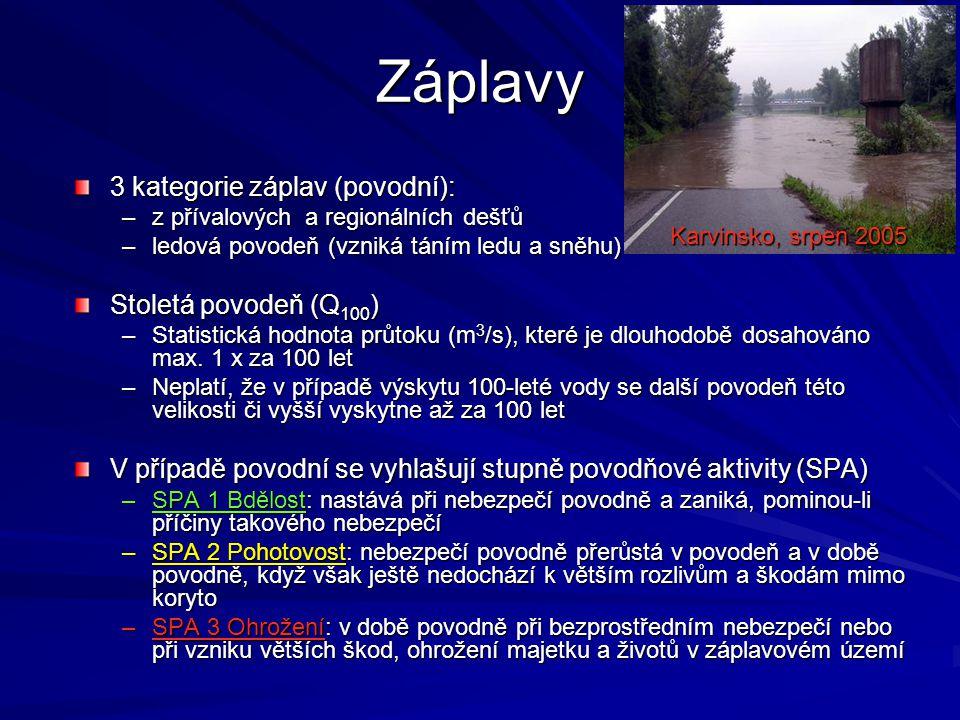 Záplavy 3 kategorie záplav (povodní): Stoletá povodeň (Q100)