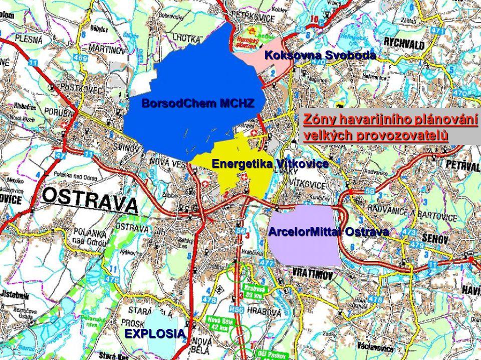 Zóny havarijního plánování velkých provozovatelů