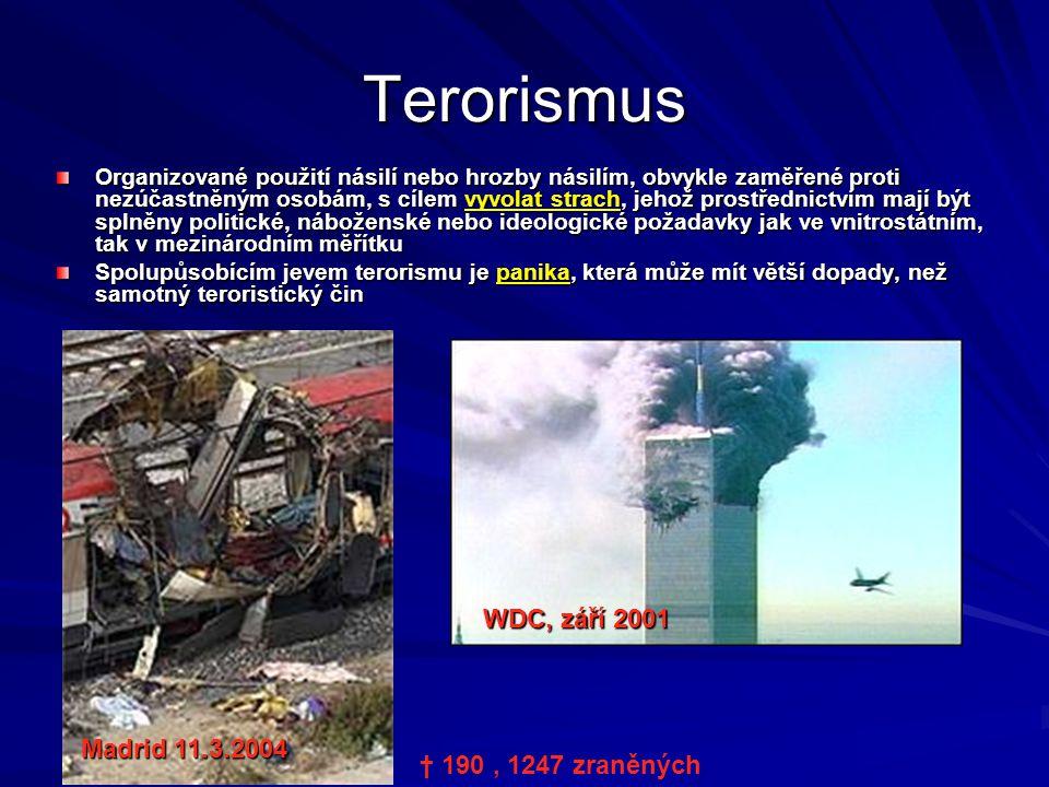 Terorismus WDC, září 2001 Madrid 11.3.2004 † 190 , 1247 zraněných