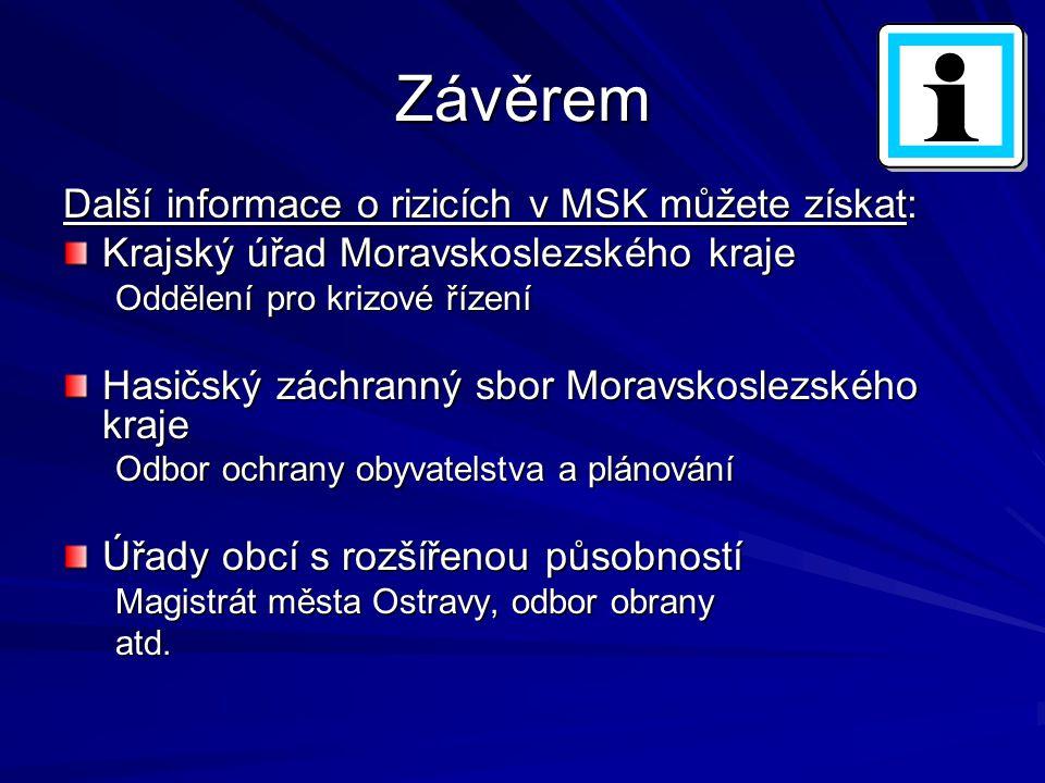 Závěrem Další informace o rizicích v MSK můžete získat: