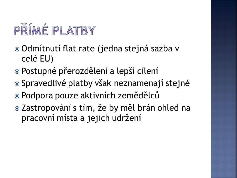 Přímé platby Odmítnutí flat rate (jedna stejná sazba v celé EU)
