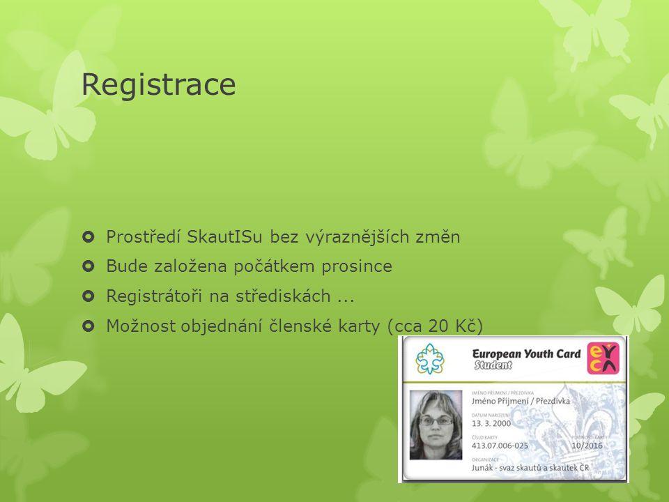 Registrace Prostředí SkautISu bez výraznějších změn