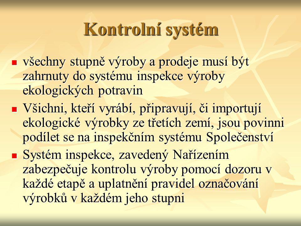 Kontrolní systém všechny stupně výroby a prodeje musí být zahrnuty do systému inspekce výroby ekologických potravin.