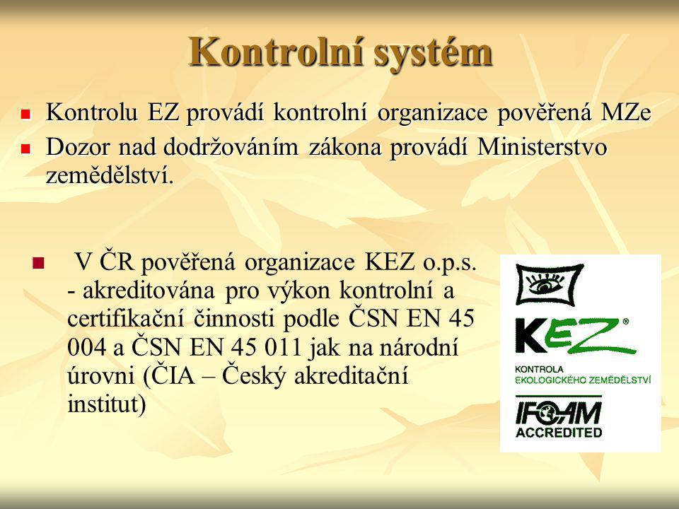 Kontrolní systém Kontrolu EZ provádí kontrolní organizace pověřená MZe