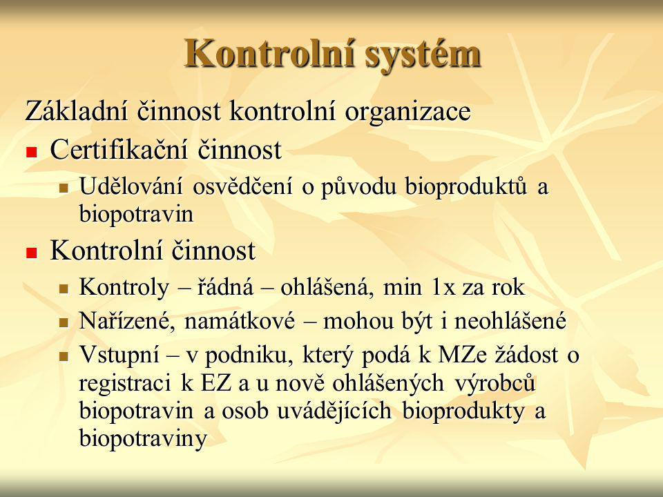 Kontrolní systém Základní činnost kontrolní organizace