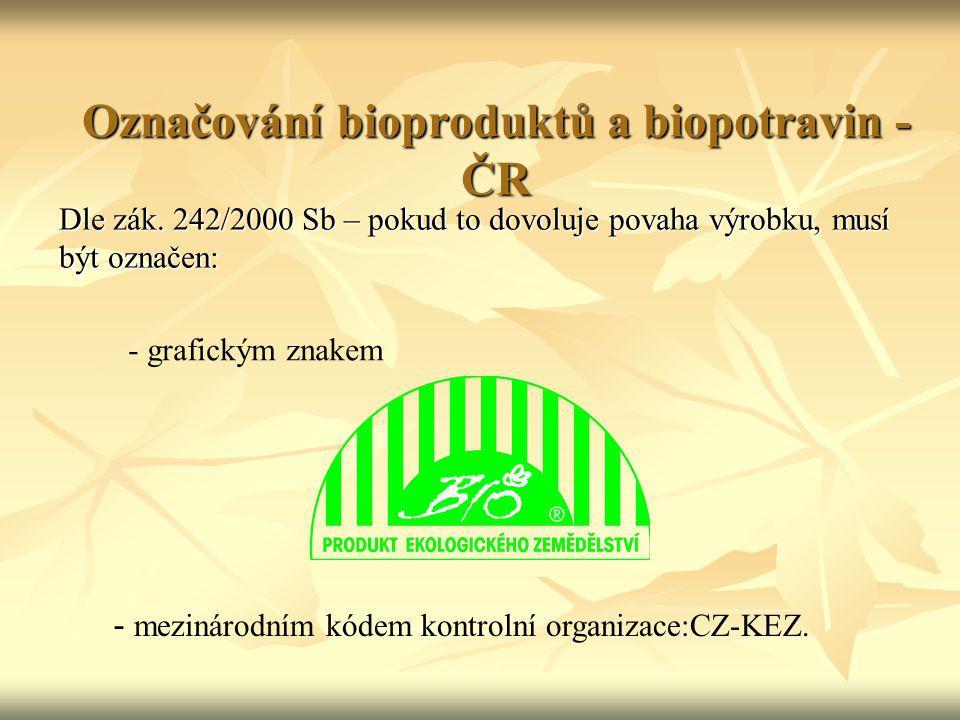 Označování bioproduktů a biopotravin - ČR