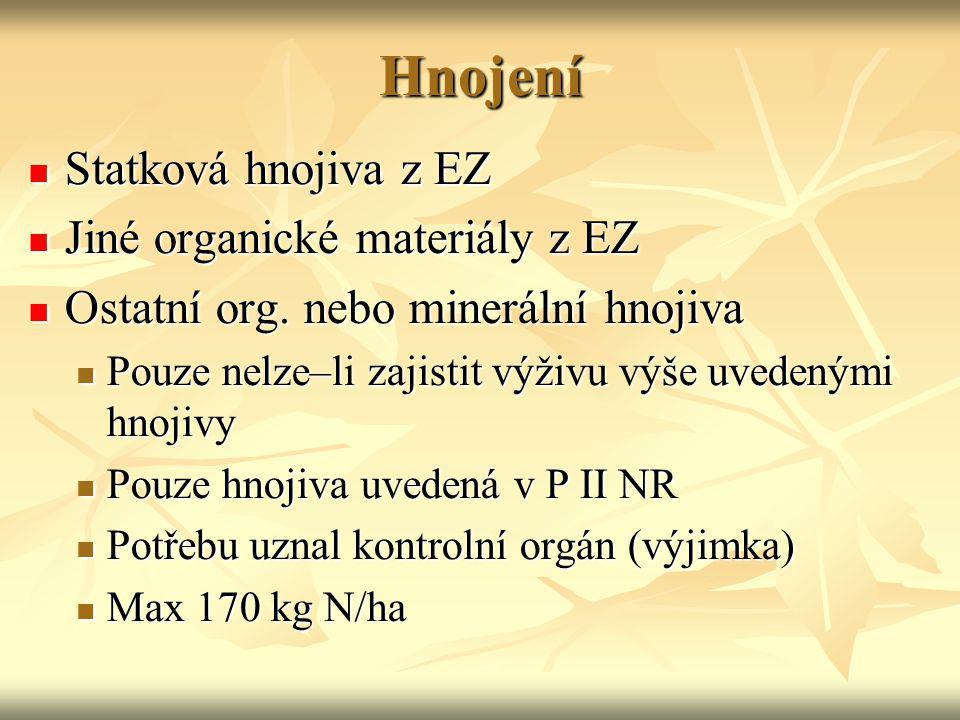 Hnojení Statková hnojiva z EZ Jiné organické materiály z EZ
